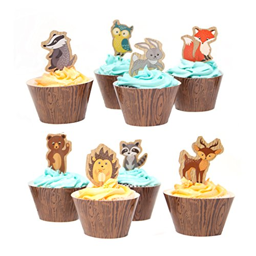 Friends Cupcake Picks - Woodland Creatures of the Forest Cupcake Wrappers and Picks