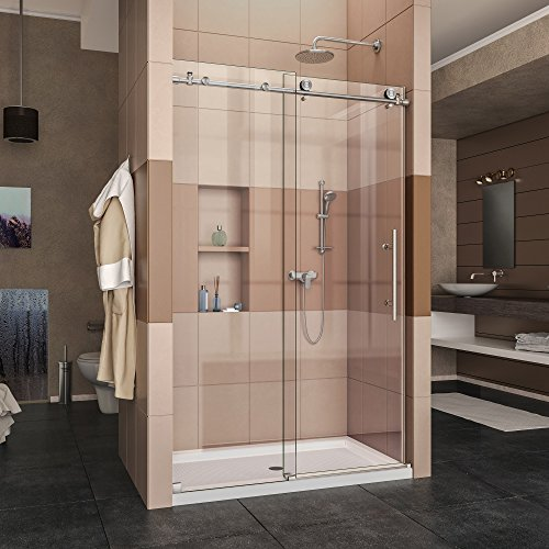 DreamLine Enigma-X 44-48 in. W x 76 in. H Fully Frameless Sliding Shower Door in Brushed Stainless Steel, SHDR-61487610-07