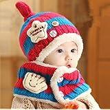 FIRE START 選べる4色 ニット帽子&マフラー セット耳まであったかキャップ ベビー キッズ 子供用 ニットキャップかわいい  赤ちゃんニット帽誕生日 出産祝い 記念写真の衣装にベビー 防寒帽子 (ローズ+青色)