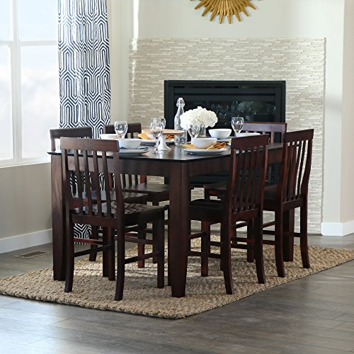 Walker Edison 7-Piece Espresso Wood Dining Set