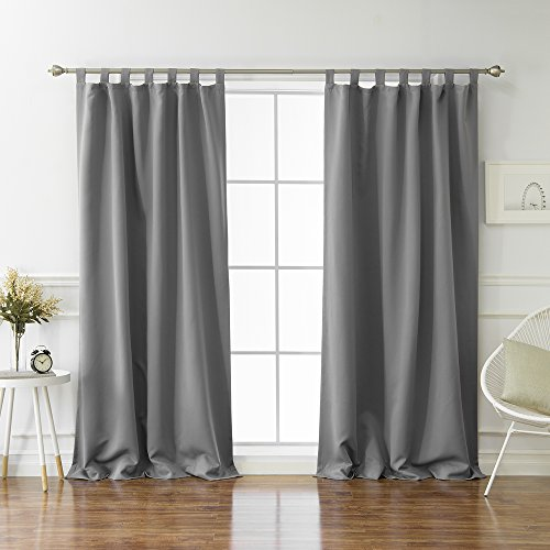 Best Home Fashion Tab Top Thermal Insulated Blackout Curtain - Tabtop - Grey - 52