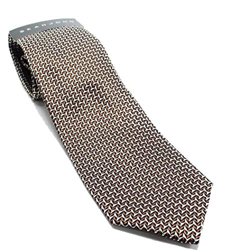 Sean John Men's Geometric Slim Silk Classic Dress Neck Tie (Brown, One Size)