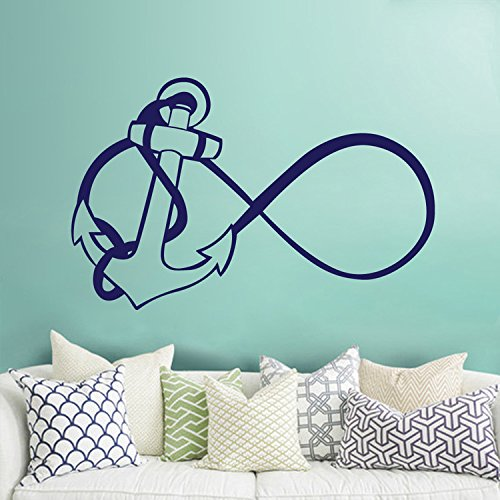 Anchor Infinity Wall Decal- Nautical Wall Decal Stickers- Nautical Bedroom Nursery Living Room Home Decor (Navy blue,s)