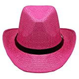 SILVERFEVER Silver Fever Woven Urban Panama Cowboy Hat with Ribbon