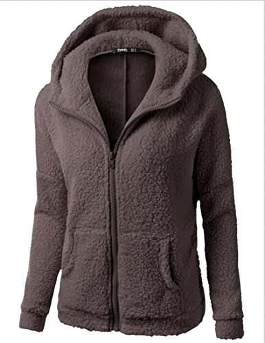Fall Winter Woollen Coat Coffee Hoodies Sweatershirt Zipper Women's Warm Generic HwqRT6Z4w