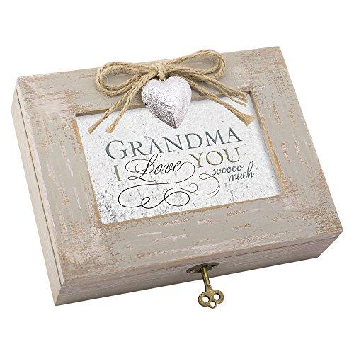 Grandma I Love You so Much Distressed Wood Locket Jewelry Music Box Plays Tune Edelweiss