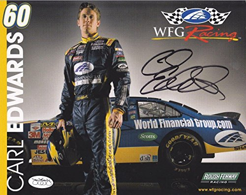 Signed Carl Edwards Photo - 8x10 Color Stats on Back - JSA Certified - Autographed Photos