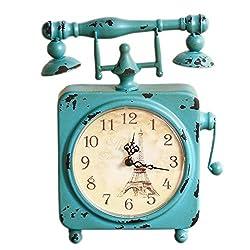 DOVANT Antique Telephone-Shape Table/Desk/Shelf Clock Home Decoration Horloge Festival Gift,Blue