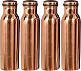 MegaCraft 100% Pure Copper Indian 4 Pcs Copper Water Jug Storage Bottle for Ayurveda Health Benefit Copper Set.BAS-34