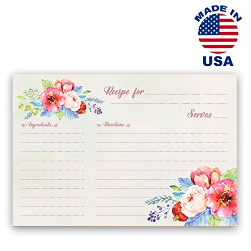 Flower Card Art (RECIPE card set of 50 identical double sided 4x6 flower cards. Great for Bridal Shower or housewarming gifts. Made in USA.)