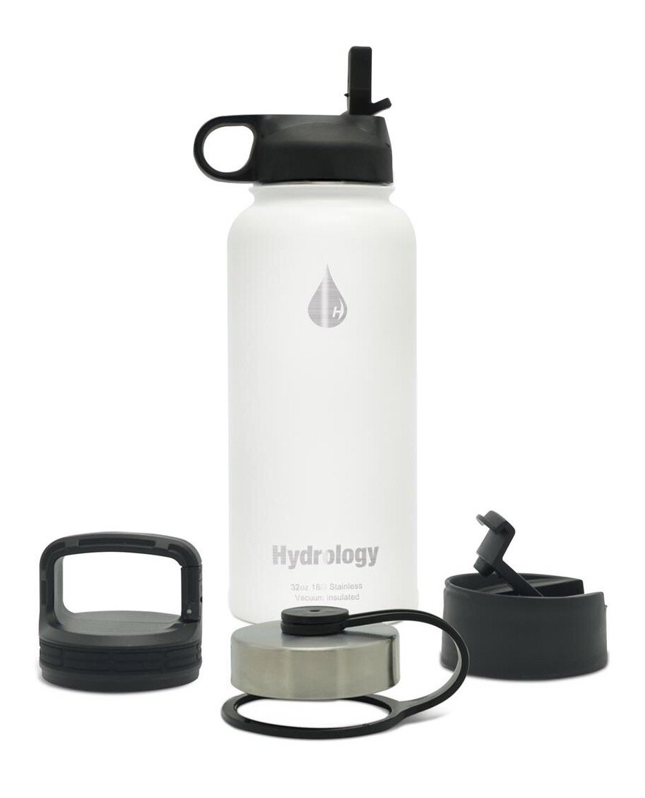 Hydrology with 4 LIDS Double Wall Vacuum Insulated Stainless Steel Water Bottle Flask - Keeps Cold and HOT (Vivid White, 32 oz)