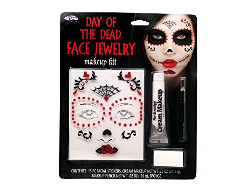 Fun World Day of the Dead Face Jewelry Makeup Kit -