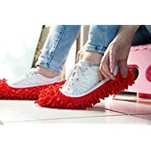 MareLight 2pcs Multi Function Chenille Fibre Washable Dust Mop Slippers Cleaning Shoes (Pink)