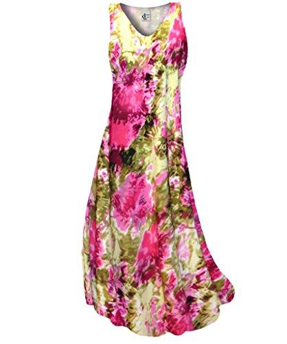 Sanctuarie Designs Women's /3x Tall/Hot Pink Olive Tie Dye Slinky Print V Neck Tank Plus Size Supersize Maxi Dress/3x Tall/./