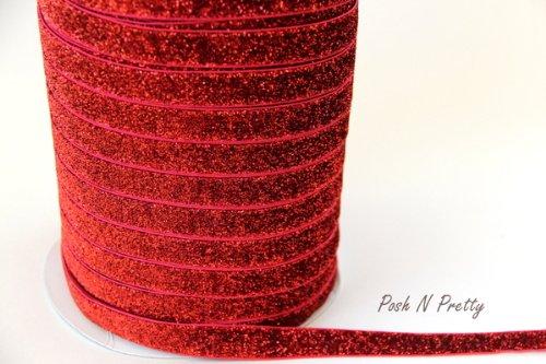 5 YARDS 5/8 Glitter Stretch Velvet Elastic Metallic NO FLAKE Trim- RED (Glitter Stretch Velvet)
