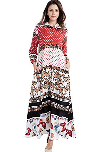 (Baya Boho Style Long Sleeve Maxi Dress For Women Shirt Dresses Floral Print Vintage Muslim Robe Kaftan,Red,XX-Large)