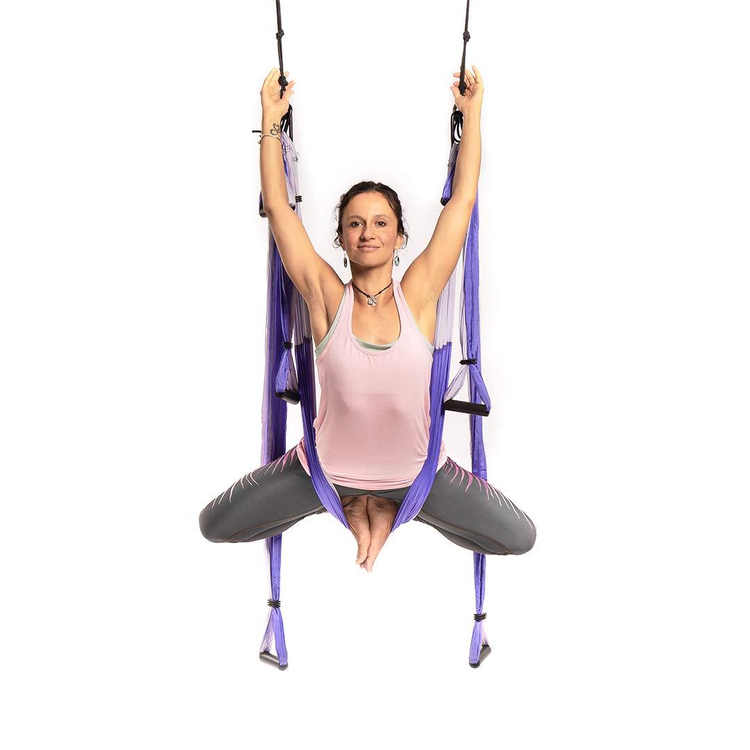 YOGABODY Yoga Trapeze (Oficial) con DVD, Color Lila - Yoga Aéreo