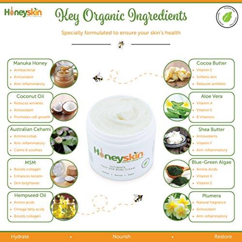 Honeyskin Organics Aloe Vera + Manuka Honey Face and Body Cream for Rosacea, Eczema, Psoriasis, Rashes, Itchiness, Redness with raw Superfoods, 4 oz. by Honeyskin Organics (Image #2)