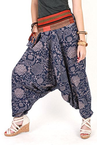 Aladdin Junior Costumes (Hmong Harem Pants Unisex Baggy Genie Men Fisherman/aladdin/ninja Pants Trouser Yoga Boho Gypsy Hippie Indian Women Loose Pants Plus Size Brick Blue and Light Brown)