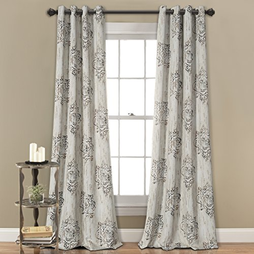 MYSKY HOME Dahlia Flower Damask Style Fashion Design Print Grommet Top Thermal Insulated Blackout Curtains for Living Room 52 by 95 inch, Cafe (1 (Damask Drapery)