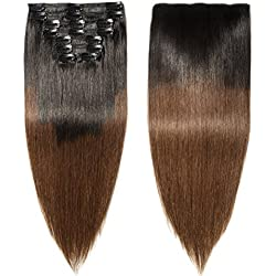 "Double Weft 100% Remy Clip in Human Hair Extensions Ombre 2 Tone Color Grade 7A Quality Full Head Thick Long Straight 8pcs 18clips(18"" / 18 inch 140g ,Natural Black to Medium Brown)"