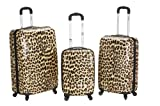 Rockland Luggage 3 Piece Upright Set, Leopard, Medium, Bags Central