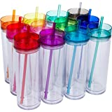 12 Pack – Insulated Acrylic Tumblers with Colored Lids and Straws, 16oz Clear Skinny Travel Water Bottles, Double Wall Review