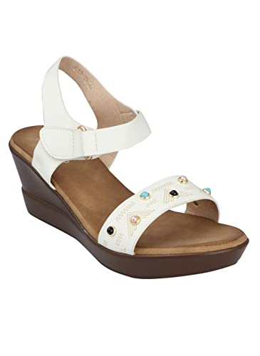 93a32c4e514ba pelle albero Womens White Comfortable Wedges Heels Sandals: Buy ...
