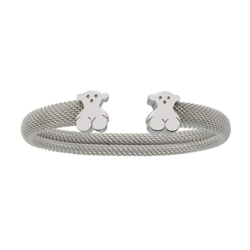 TOUS Jewelry ''Icon Mesh'' Sterling Silver Mesh with Bear Cuff Bracelet