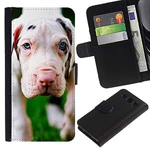 Billetera de Cuero Caso Titular de la tarjeta Carcasa Funda para Samsung Galaxy S3 III I9300 / Dog Puppy Great Dane Cute / STRONG