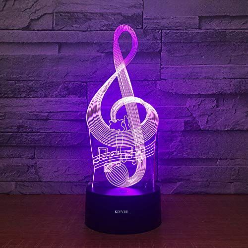 Note Toys Visual 3D Lamp Musical Instrument 2D Night Light W/USB Cable Birthday Christmas Gift for Boys Kids Adult Acrylic Table Furniture Decorative Colorful 7 Color Change Household Accessories