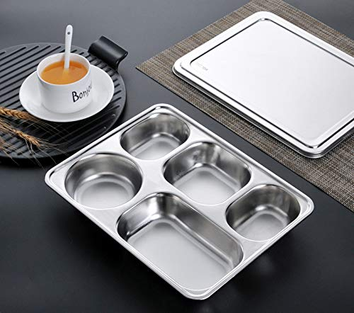 Kentop Stainless Steel Lunch Box Dinner Plate Divided Tray Restaurant Serving Tray Container Tray for School Crane Personal Dining Room