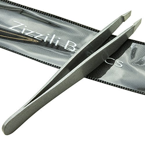 Tweezers - Surgical Grade Stainless Steel - Slant Tip for Expert Eyebrow Shaping and Facial Hair Removal - with Bonus Protective Pouch - Best Tool for Men and Women (Silver) by Zizzili Basics