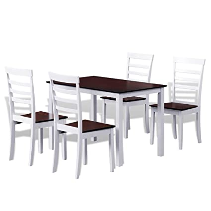 Festnight 5 Piece Wood Dining Table Set With 4 High Back Chairs For Kitchen  Dining Room