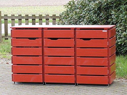 3er Mülltonnenbox / Mülltonnenverkleidung 240 L Holz, Deckend Geölt Nordisch Rot