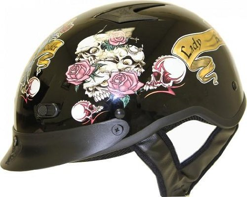 DOT VENTED LADY RIDER BLACK MOTORCYCLE HALF/BEANIE HELMET-XS (Shorty Beanie Helmet Dot)
