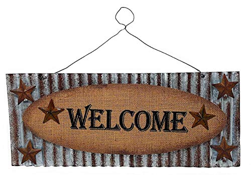 (D.I.D. Metal Welcome 3D Sign Rustic with Stars Burlap for Indoor Outdoor (16.7