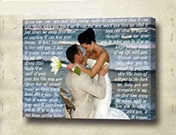 Personalized Wedding Photo Canvas Prints with Personalized Message, Lyrics, Poem 20×24 Inch