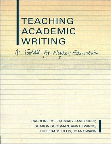 amazoncom teaching academic writing a toolkit for higher education literacies s 9780415261364 caroline coffin mary jane curry sharon goodman