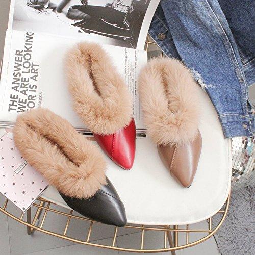 Moda de Baotou Planos Punta con Zapatos de caqui Zapatos Peludos 5 con EUR34 Piso Perezosos Fq5Pzwn