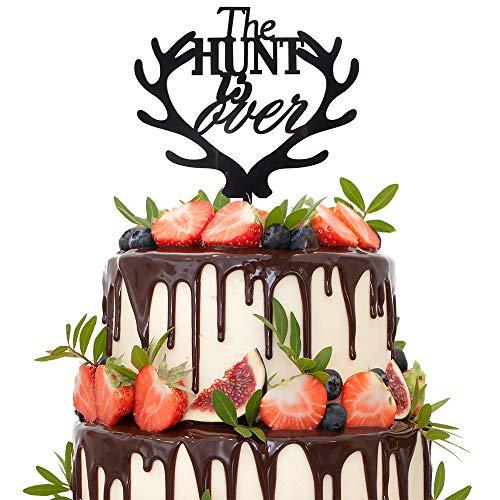 The Hunt Is Over Deer Antler Black Acrylic Cake Topper Love Mr & Mrs Adventure Wedding Engagement Party Keepsake -