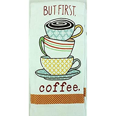 Kitchen Towels But First Coffee 2 Pack, 16 x 28 inches 100% Cotton - Machine Washable- White Printed Dish Cloths Terry Cloth