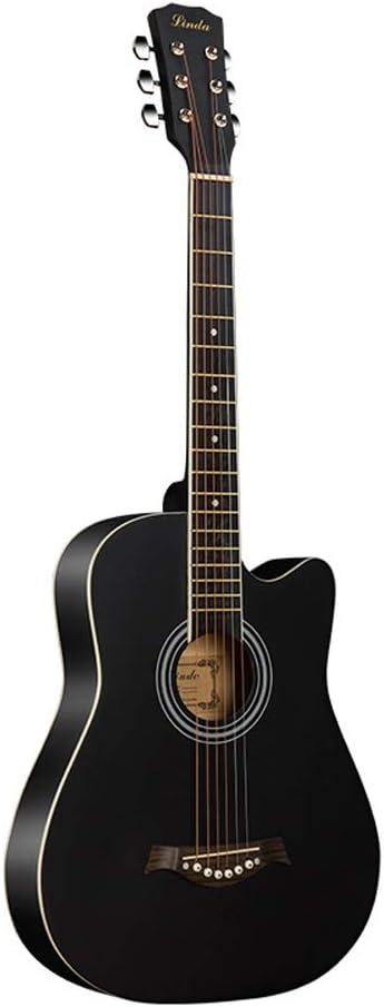 Miiliedy Guitarra acústica de 38 pulgadas, principiantes, hombres y mujeres, estudiantes adultos que practican tocar guitarra de madera con caja de guitarra.