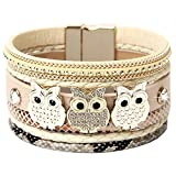 DESIMTION Leather Wrap Cuff Boho Multilayer Magnetic Wide Handmade Wristbands Animal Owl Wrist Braided Buckle Casual Bangle Bracelets for Women Girl, Teen Girl, Boy Gift