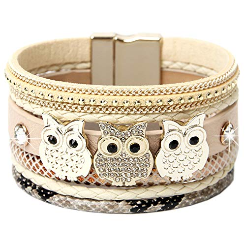 DESIMTION Leather Wrap Cuff Boho Multilayer Magnetic Wide Handmade Wristbands Animal Owl Wrist Braided Buckle Casual Bangle Bracelets for Women Girl, Teen Girl, Boy (Best Jewelry Gifts For Lovers)