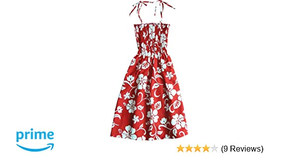 cc1b6c62e2 RJC Women s Classic Hibiscus Hawaiian Smocked Sundress Red Large at Amazon  Women s Clothing store