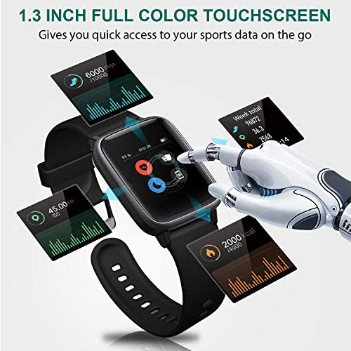 Letsfit Smart Watch, Fitness Tracker with Heart Rate Monitor, Activity Tracker with 1.3″ Touch Screen, IP68 Waterproof Pedometer Smartwatch with Sleep Monitor, Step Counter for Women and Men 51FmApeJpGL