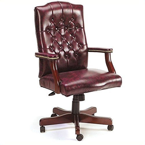 boss office products b905-bk classic executive caressoft chair with mahogany finish in black