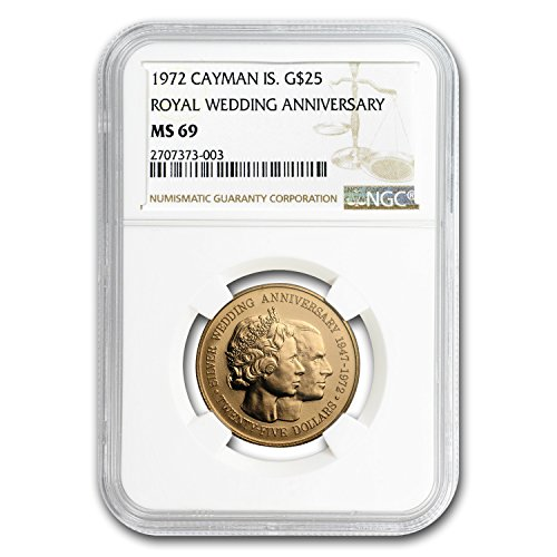 1972 KY Cayman Islands Gold $25 Silver Wedding Anniversary MS-69 NGC Gold MS-69 (Cayman Islands Wedding)