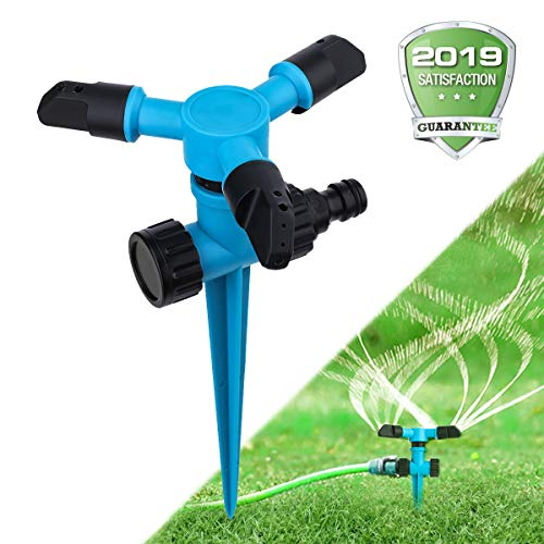 OUTERDO Yard Sprinkler, 360 Sprinkler Rotating Garden Automatic Spray with Angle Adjustable Nozzle, Leak-Free Durable Lawn Sprinkler with Large Area of Coverage for Lawn/Yard/Garden/Roof Cooling